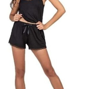 Pijama de Mujer Con Bretel y Puntilla Negro Cocot 7359